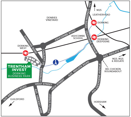 Map showing the location of the Trentham Invest office